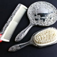 Vintage Vanity Set - Silver Plated Hair Brush, Hand Mirror, & Comb Circa 1950 / Rustic Beauty