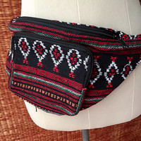 Tribal Fanny pack Festival Boho Ethnic Styles belt belly bum Hip Bags Pouch Travel hip sack phanny waist Ikat Hippies Hmong cycling Men Red