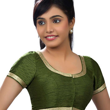 Elegant Mehendi Green Party-wear Silk Sari Blouse SNT-X-256-SL