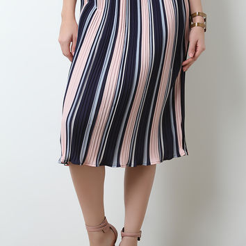 Multi-Colored Accordion Pleat High Waist Skirt