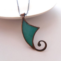 Stained glass pendant, copper wire jewelry, bohemian necklace, boho style, gift idea, turquoise pendant, artistic jewelry, Spiral