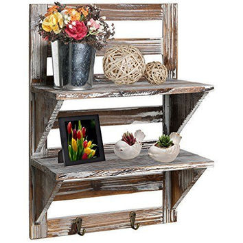 Rustic Brown Wood Wall Mounted Organizer Shelves w/ 2 Hooks, 2-Tier Storage Rack