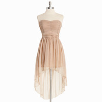 regal nights asymmetrical chiffon dress in light taupe - $54.99 : ShopRuche.com, Vintage Inspired Clothing, Affordable Clothes, Eco friendly Fashion