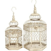 New Set/2 White Metal Hexagon Parakeet Birds Cages 21""