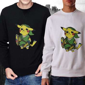 Zelda Pokemon sweater Black and White Sweatshirt Crewneck Men or Women Unisex Size