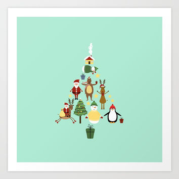 Christmas tree with reindeer, Santa Claus and bear Art Print by Graf Illustration