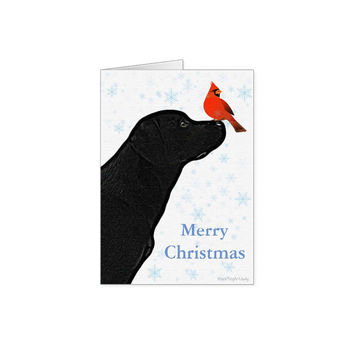 Black Lab Christmas Cards 10 - Christmas In July - Black Lab Art 3- Black Dog Christmas Card - Cardinal Merry Christmas