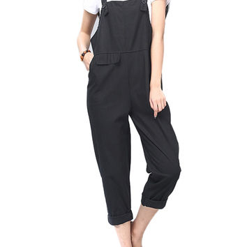 Casual Strap Solid Nine Points Rompers Jumpsuit For Women