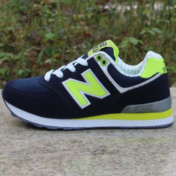 Women Men Casual Running NEW BALANCE Sport Shoes Sneakers Dark blue and green