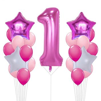 Pink Number 1 Balloons Bouquet Pink Party Balloons | Girl's 1st Birthday Party |Balloon Bouquet | First Birthday Number Balloon