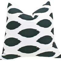 Black and White Pillows Decorative Ikat by PillowThrowDecor