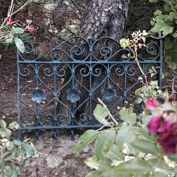 Iron Gate with Flowers / Antique Window Gate / Garden Decor / Architectural Salvage