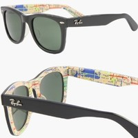 RAY BAN WAYFARER RARE PRINTS NYC METRO Sunglasses - RB2140 1028 (50mm)