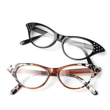 Cat Eye Reading Glasses Resin Crystal Rhinestone Decoration Women Glasses