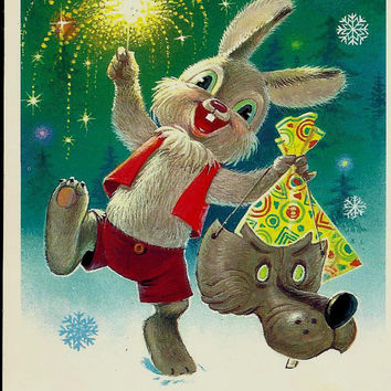 Happy New Year, Rabbit, Vintage  Russian Postcard, Christmas, Xmas, artist Zarubin unused 1984