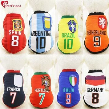 Cat Dog Shirt World Cup Soccer Jersey Pet Vest Football National Team Sports Wear NBA