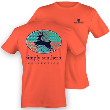 NEW Simply Southern Preppy Pattern Deer Girlie Country Hunt Coral Bright T Shirt