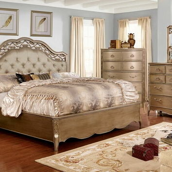 5 pc Capella collection brushed gold finish wood with upholstered tufted headboard queen bedroom set