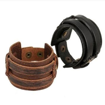 Punk Rock Johnny Depp Vintage Wide Leather Bangles Men Cool Thick Black Brown Genuine Cowhide Wristband Cuff Bracelets Best Gift