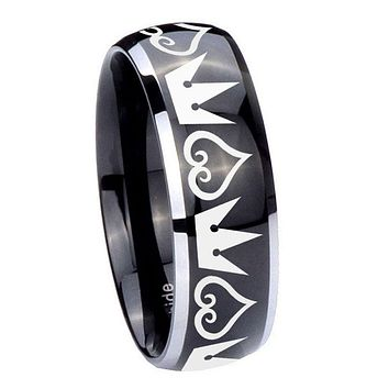 8MM Glossy Black Dome Hearts and Crowns 2 Tone Tungsten Laser Engraved Ring