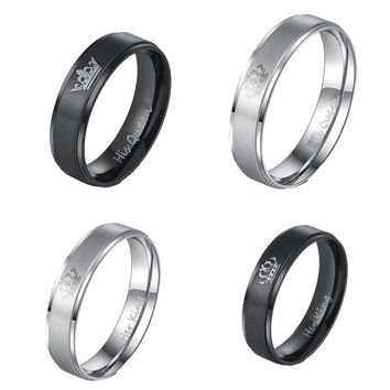 1 PC King and Queen Stainless Steel Ring - His and Hers Couple Wedding Band Set Anniversary Engagement Promise Ring