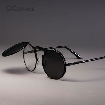 STEAMPUNK Retro Round Flip Sunglasses Men Women Metal Two Pairs Lenses CIRCLE SUN GLASSES Brand Fashion Eyewear Shades UV400