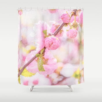 Pink sakura flowers - Japanese cherry blossom Shower Curtain by Digital2real