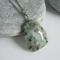 Large Kiwi Jasper Focal Pendant Oxidized Sterling Silver Necklace