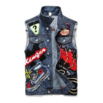 Punk Style Denim Vest Men Cotton Sleeveless Jackets Blue Casual Vests Young Age Male with Many Pockets Plus Size 3XL Waistcoat