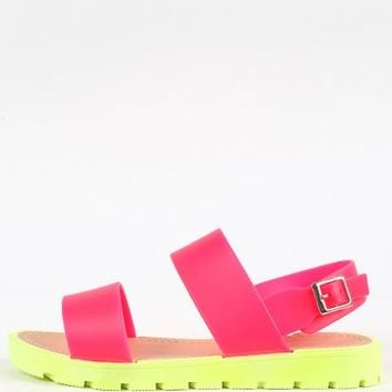 Wild Diva Lounge Jenner-03 Neon Band Sandals | MakeMeChic.com