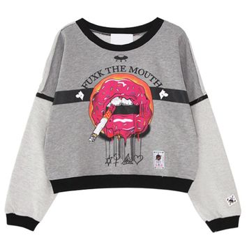 Contrast Zip Sleeves Sweatshirts with Donuts Smoking Lips Printed
