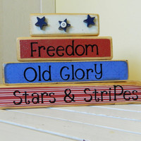 Happy Fourth of July Wooden blocks stacker summer by FayesAttic11