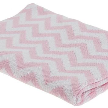 Pink Zig Zag Striped Baby Blanket Knitting Pattern