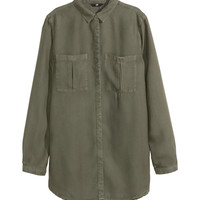 H&M - Lyocell Shirt - Khaki green - Ladies