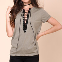 Jonathan Saint Lace Up Tee - Olive