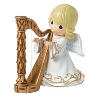Precious Moments Angel Playing Harp Musical