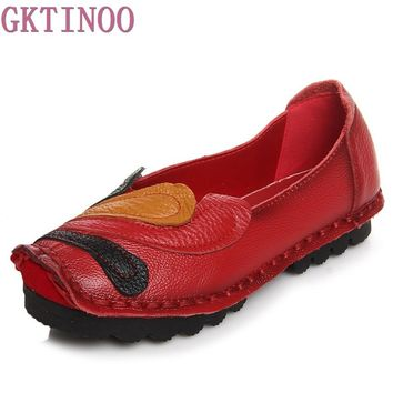 New Spring Autumn Loafers Women's Flat Shoes Woman Vintage Handmade Shoes Genuine Leather Soft Outsole Shoes Women Flats