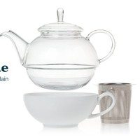 Glass And Porcelain Tea For One - Pretty Glass Teapot, Elegant White Porcelain Cup And A Stainless Steel Infuser All In A Cute Set | DavidsTea