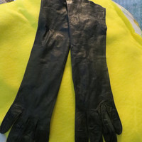 Vintage retro Long Kid Leather black  Opera Gloves