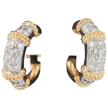 Gold and Diamond Hoop Earrings by Fred of Paris