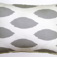 Pillow.Gray.12x16 or 12x18 inch Decorator Lumbar Pillow Cover.Printed Fabric Front and Back