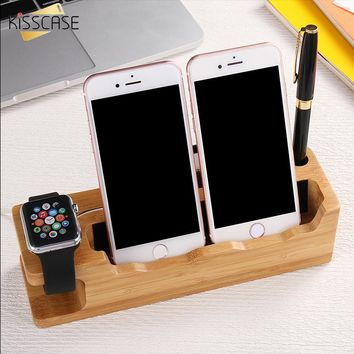Apple Watch Stand, Dual Wood Charge Dock, Holder, Bamboo Wood Charging Station/Cradle Apple