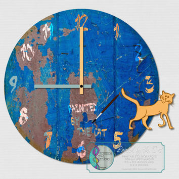 Printable Clock Face, Rustic Painted Clock, Craft Supplies, DIY Clock, Decoupage, Instant Download, Digital Clock Face - Painted by the Cat
