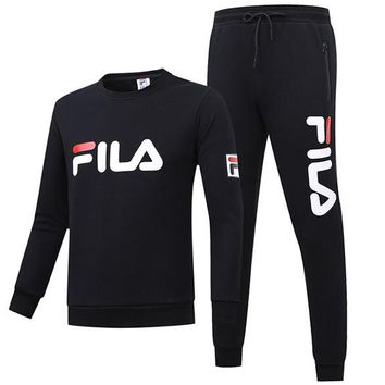 FILA winter new round neck plus velvet sweater trousers breathable sportswear two-piece Black