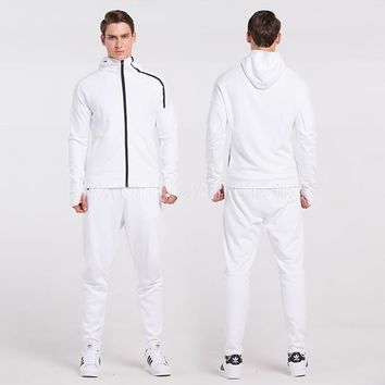 VANSYDICAL Men Sport Jackets Running Jacket Sets Workout Clothes Long Sleeve Fitness Tracksuit Running Sportswear Gym Clothing
