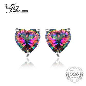 Jewelrypalace Love Heart Natural Mystic Rainbow Topaz Earrings Stud 925 Sterling Silver Brand Party Wedding Jewelry For Women