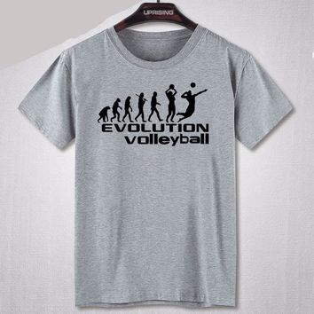 Evolution Volleyball T-Shirts - Men's Crew Neck Novelty Top Tee