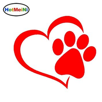 HotMeiNi Lovely Heart Shaped Cat Paw Print Vinyl Auto Decal Sticker - 10 Colors