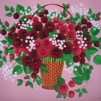 Quilling art 3D wall art picture Roses in a basket Quilling handmade Paper flowers Wall decor Original wall art Paper quilling Paper roses