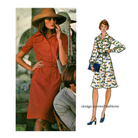 1970s DRESS PATTERN VOGUE 1052 Valentino Couterier Shirt Dress Career Day Cocktail Shirtdress Pattern Bust 38 UNCuT Women's Sewing Patterns
